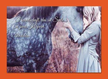 Gutschein Karte Frau mit Pferd